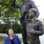 Fran Shields reflects on her 42-year career with the city of Whittier beside one of her proudest achievements, the 2010 Whittier Police Memorial on Wednesday, Oct. 28, 2015